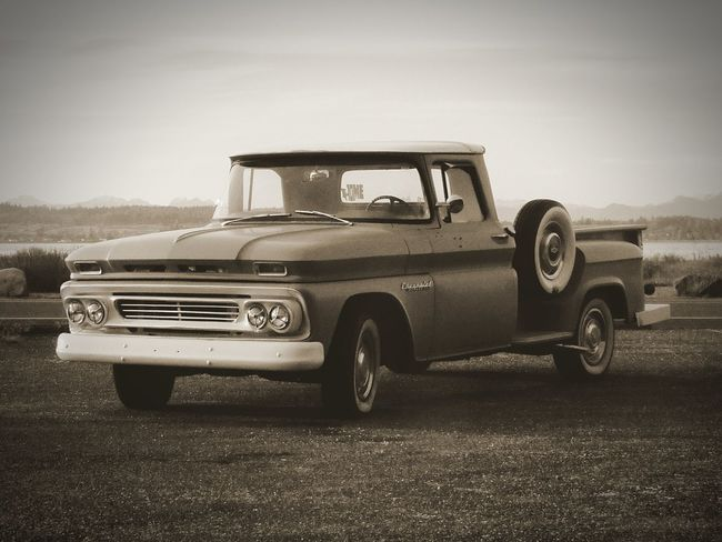 Old-fashioned Outdoors 1960's Truck Apache Chevrolet Chevy Chevy Truck Black & White Photography Old School Oldies Transportation Vehicle