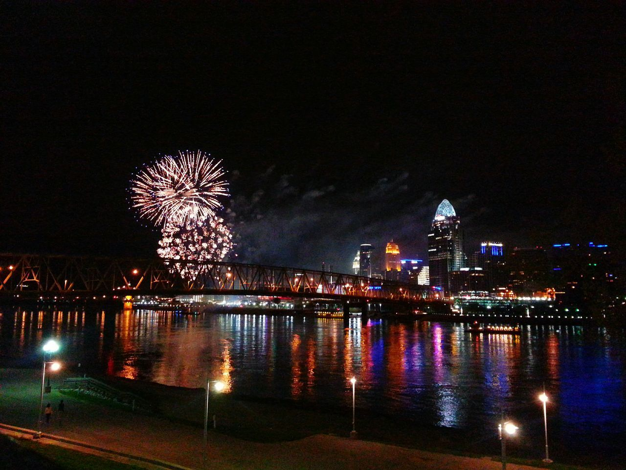 Firework Display Over River