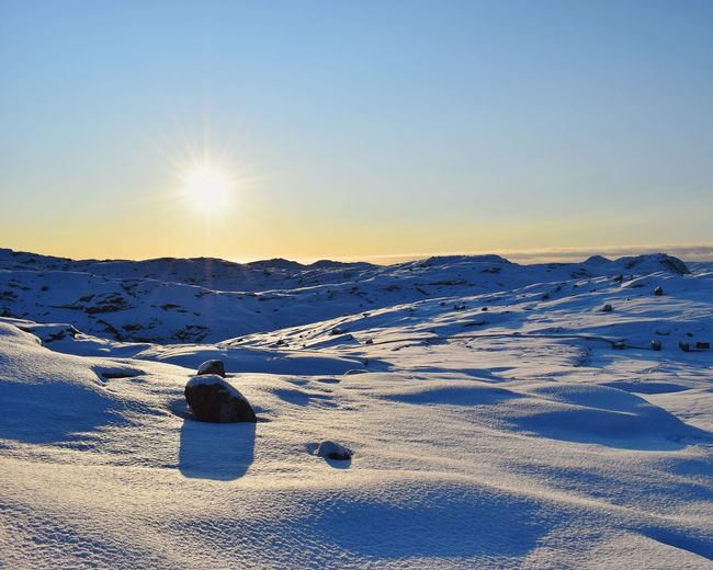 beautiful day to walk in nature Innaarsuit Greenland Snow Cold Temperature Landscape Winter Sunset Tranquility Outdoors Nature Scenics Sunlight Sky No People Tranquil Scene Beauty In Nature Day Frozen Blue Polar Climate EyeEm Ready   Shades Of Winter Shades Of Winter