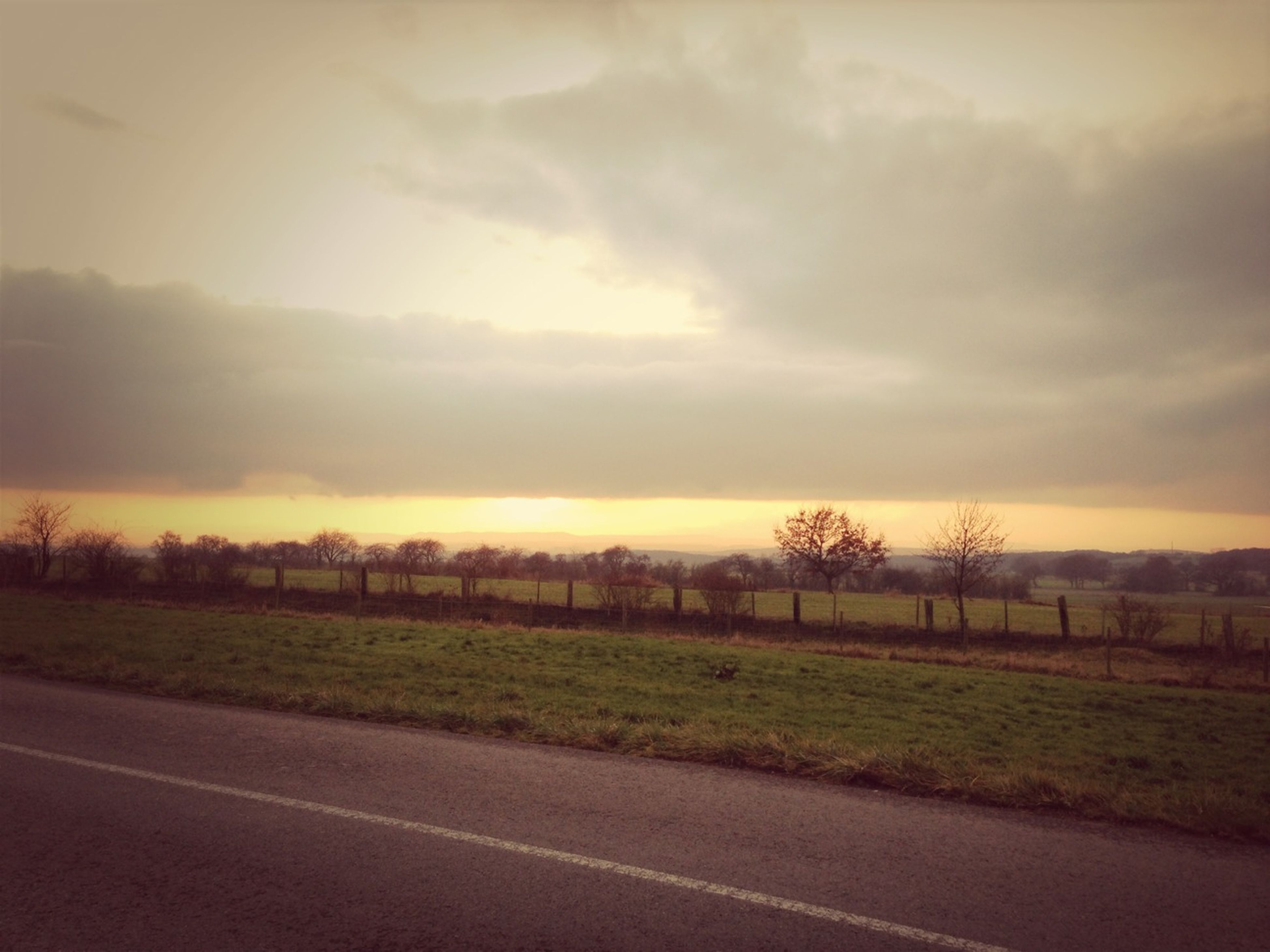 sunset, sky, landscape, tranquility, field, tranquil scene, road, tree, scenics, cloud - sky, nature, beauty in nature, grass, transportation, rural scene, cloud, country road, idyllic, non-urban scene, growth