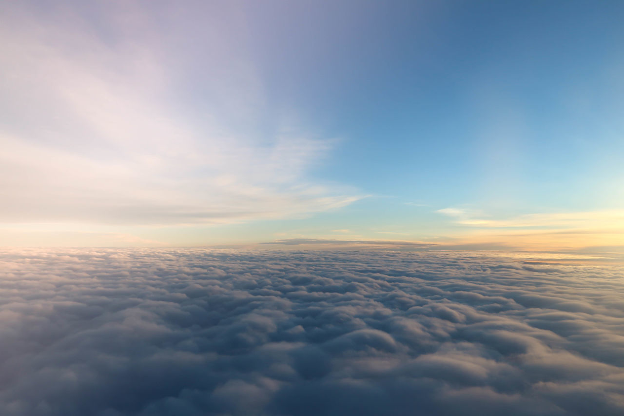 cloud - sky, beauty in nature, scenics, cloudscape, nature, tranquil scene, tranquility, sky, majestic, atmospheric mood, sunset, no people, outdoors, sky only, aerial view, the natural world, day