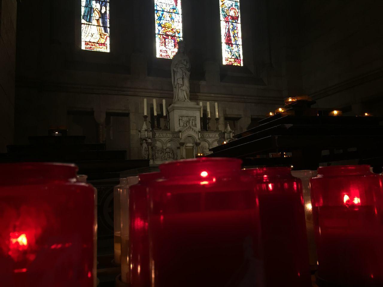 Cande Candles Fé Faith Church Red