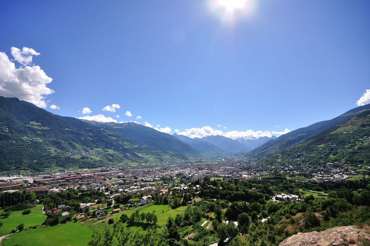Aosta Plaine Aosta Aosta Valley City In Nature Cityscape Landscape Mountain Outdoors Peaceful View Sky Summer Sunbeam Sunlight