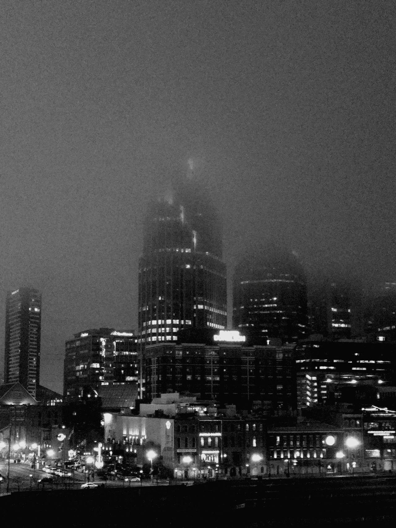 City Night Skyscraper Cityscape Sky Fog NASHVILLE,TENNESSEE Nashville Foggy Night Fog City Cold Temperature Urban Skyline