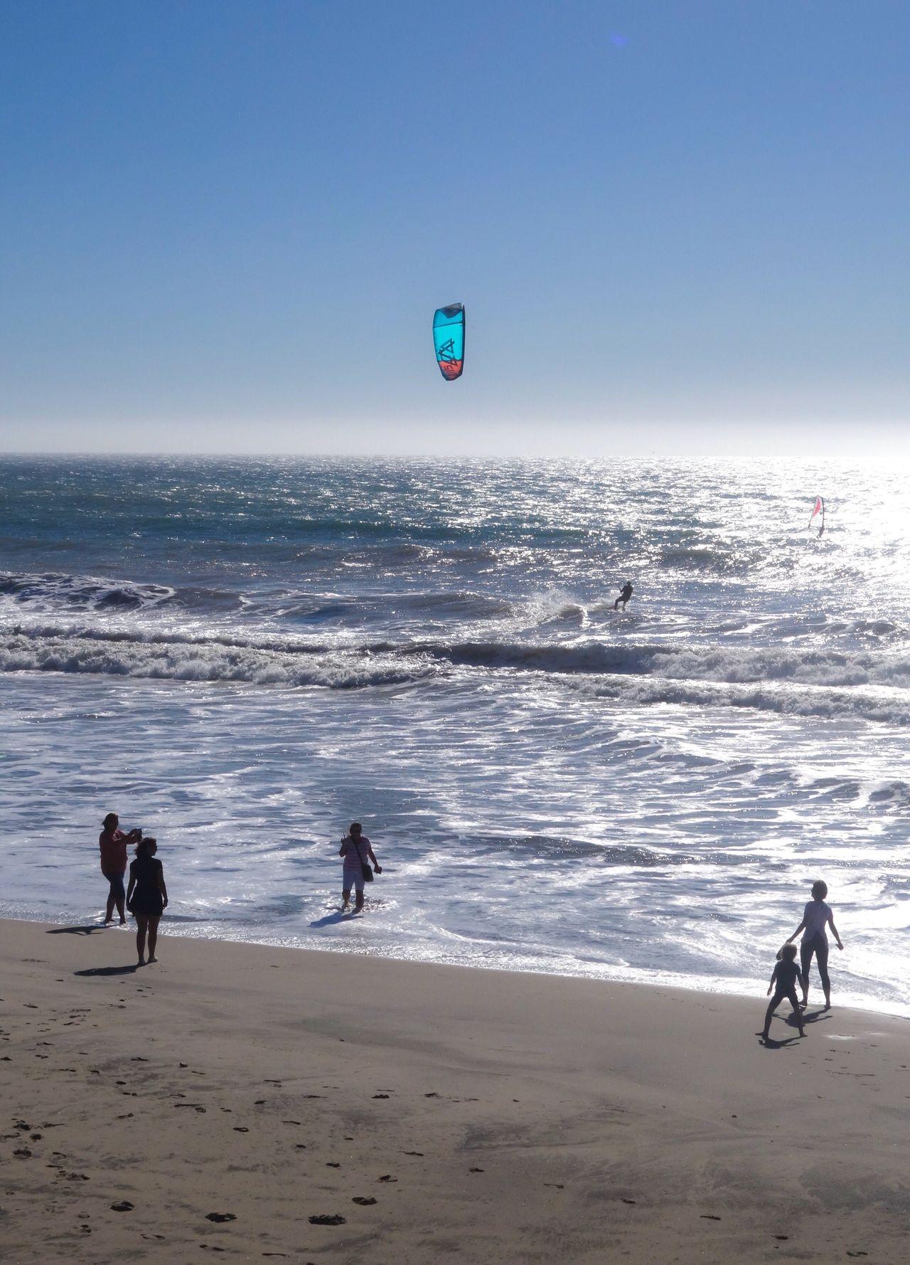 Beach Sea Sand Water Leisure Activity Shore Real People Scenics Lifestyles Sport Wave Adventure Pacific Travel EyeEmNewHere Kitesurfing Ocean California Santa Cruz California Extreme Sports Waves