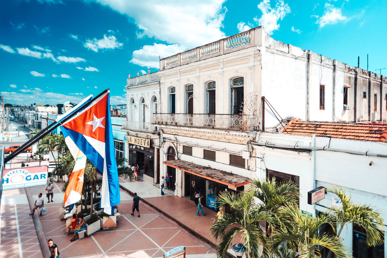Cuban view Architecture Blue Building Exterior Built Structure Cloud - Sky Cuba Day Flag No People Outdoors Patriotism Sky