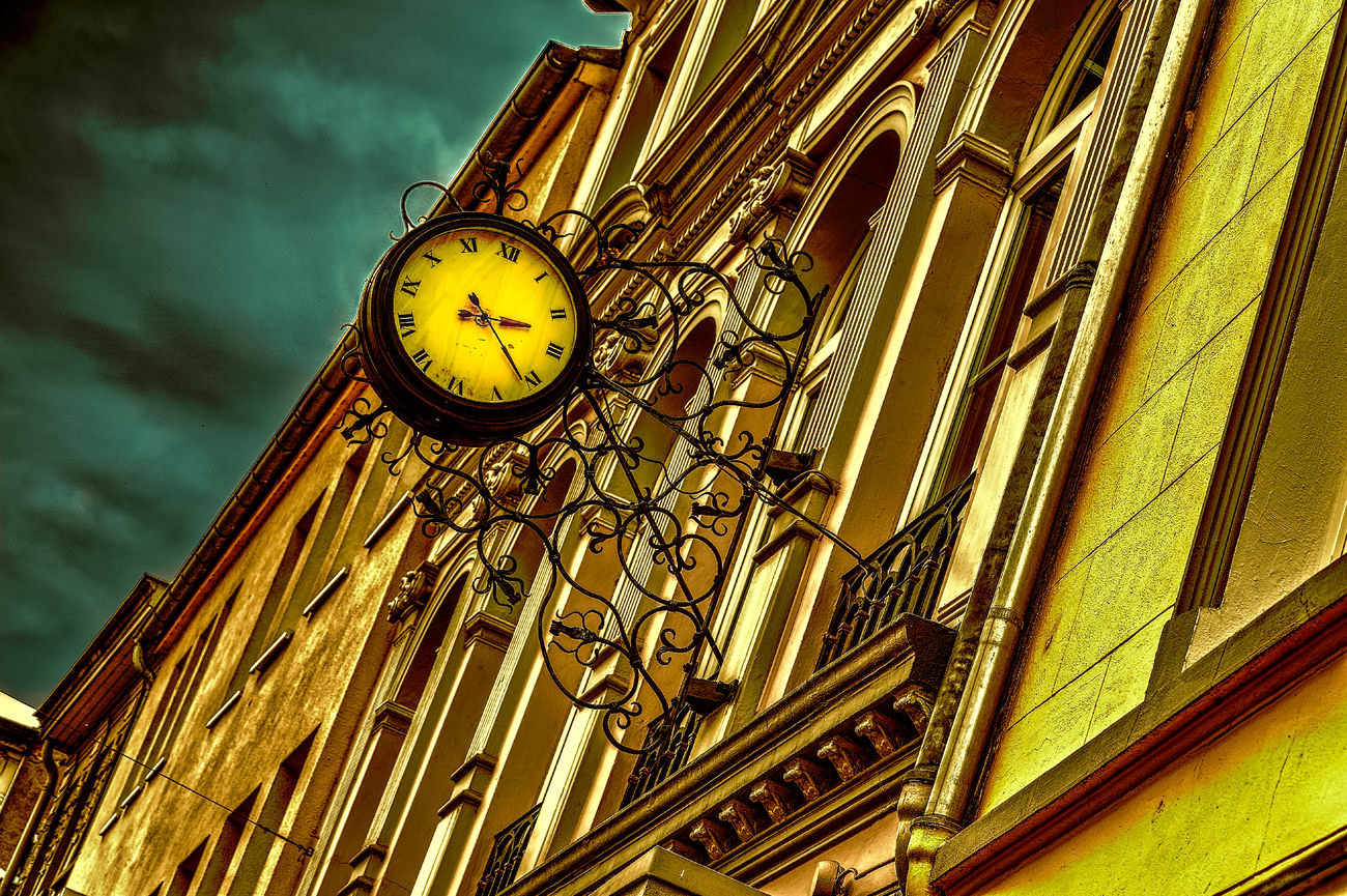 Architecture Architecture Building Exterior City Clock Clock Face Cloud - Sky Day Façade Hdrphotography Low Angle View Minute Hand No People Old-fashioned Outdoors Representing Sky Streetphotography Time