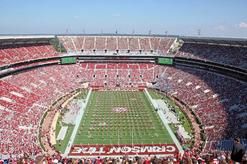 The University of Alabama Million Dollar Band pregame show At Bryant Denny Stadium in Tuscaloosa Alabama. Bama Bryant Denny Stadium College Crimson Tide  Football Green Color Marching Band Million Dollar Band Pregame Sports Tuscaloosa University Of Alabama The Color Of Sport