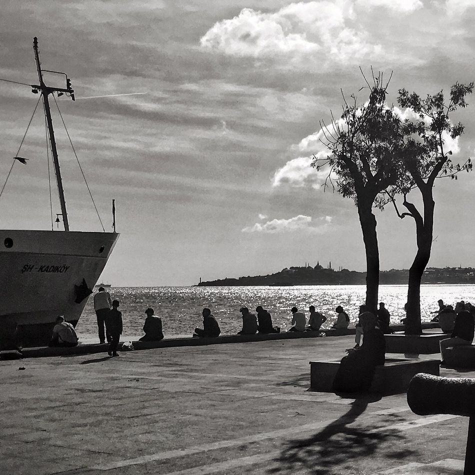 Beşiktaş Water Transportation Nautical Vessel Sea Sitting Sky Ocean Calm Person Day Cloud Nature Outdoors Tranquil Scene Solitude Tranquility Cloud - Sky Waterfront