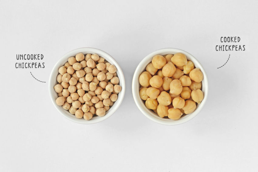 Cooked and uncooked chickpeas Benefit Cuisine Diet Garbanzo Natural Vegetarian Bean Chickpea Chickpeas Cholesterol Closeup Cooked Diabetes Dried Eat Food Grain Health Healthy Legume Nutrition Nutritious Protein Uncooked Vegan