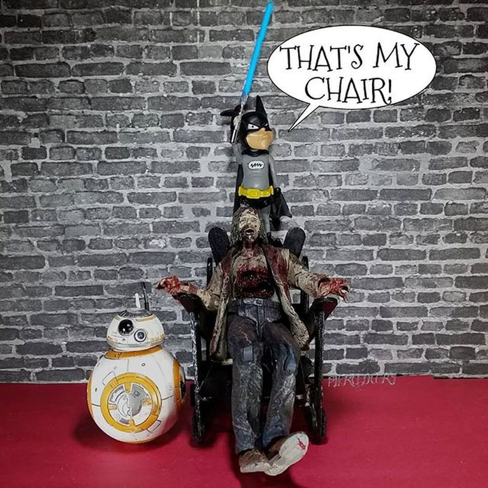 Batmite has his spot picked out and won't allow anyone to camp it! TheForceAwakens ForceAwakens 52days Starwars Starwarstoys TWD Walker Batmite Bb8
