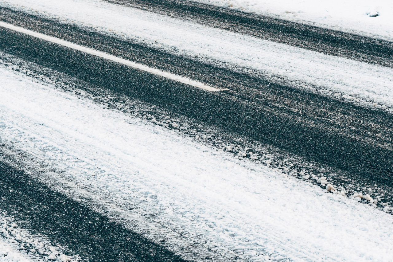 diagonal Abstract Backgrounds Close-up Cold Cold Temperature Day No People Outdoors Pattern Road Snow Textured  Transportation Winter