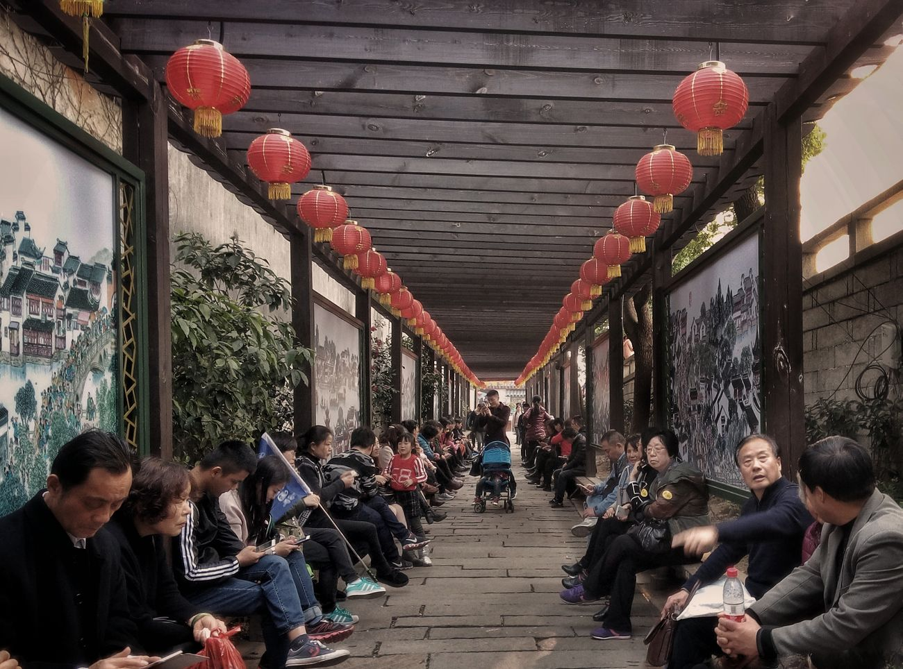 Large Group Of People Red Architecture Leisure Activity Cultures Adults Only Travel Destinations Women Men People Adult Crowd Outdoors Day China China Photos China In My Eyes Chinese Style China Streets Suzhou Suzhou, China