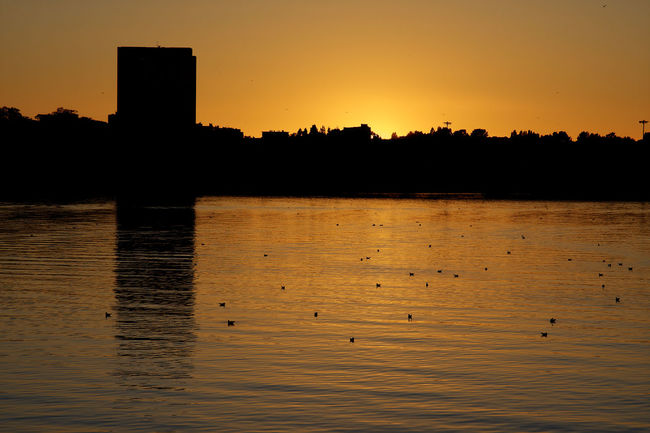 Architecture Atmosphere Bird Bretagne Building Exterior City Lanester Lorient Orange Color River Silhouette Sunset Tranquil Scene Tranquility Water Waterfront