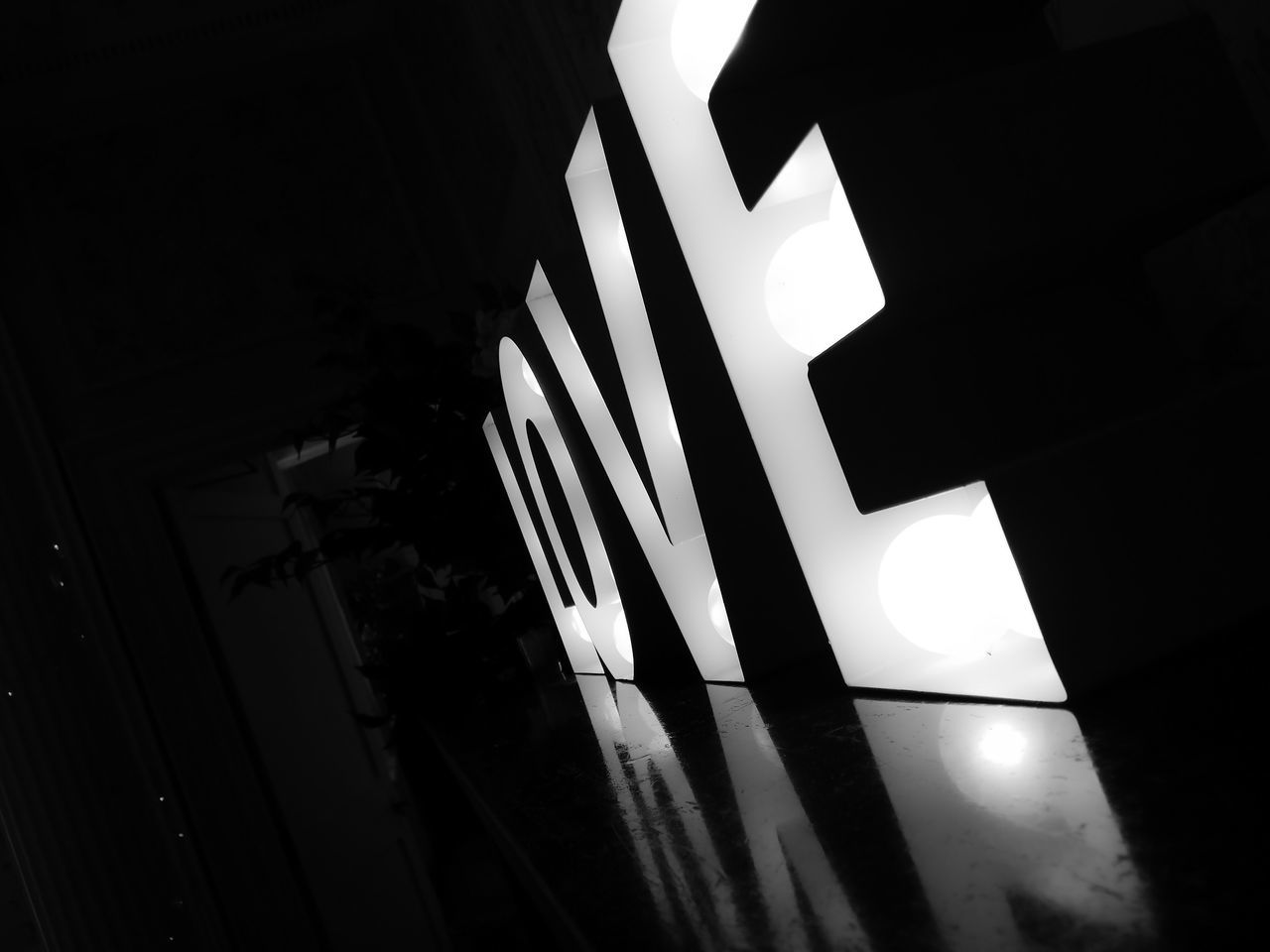 Illuminated Love In Darkroom