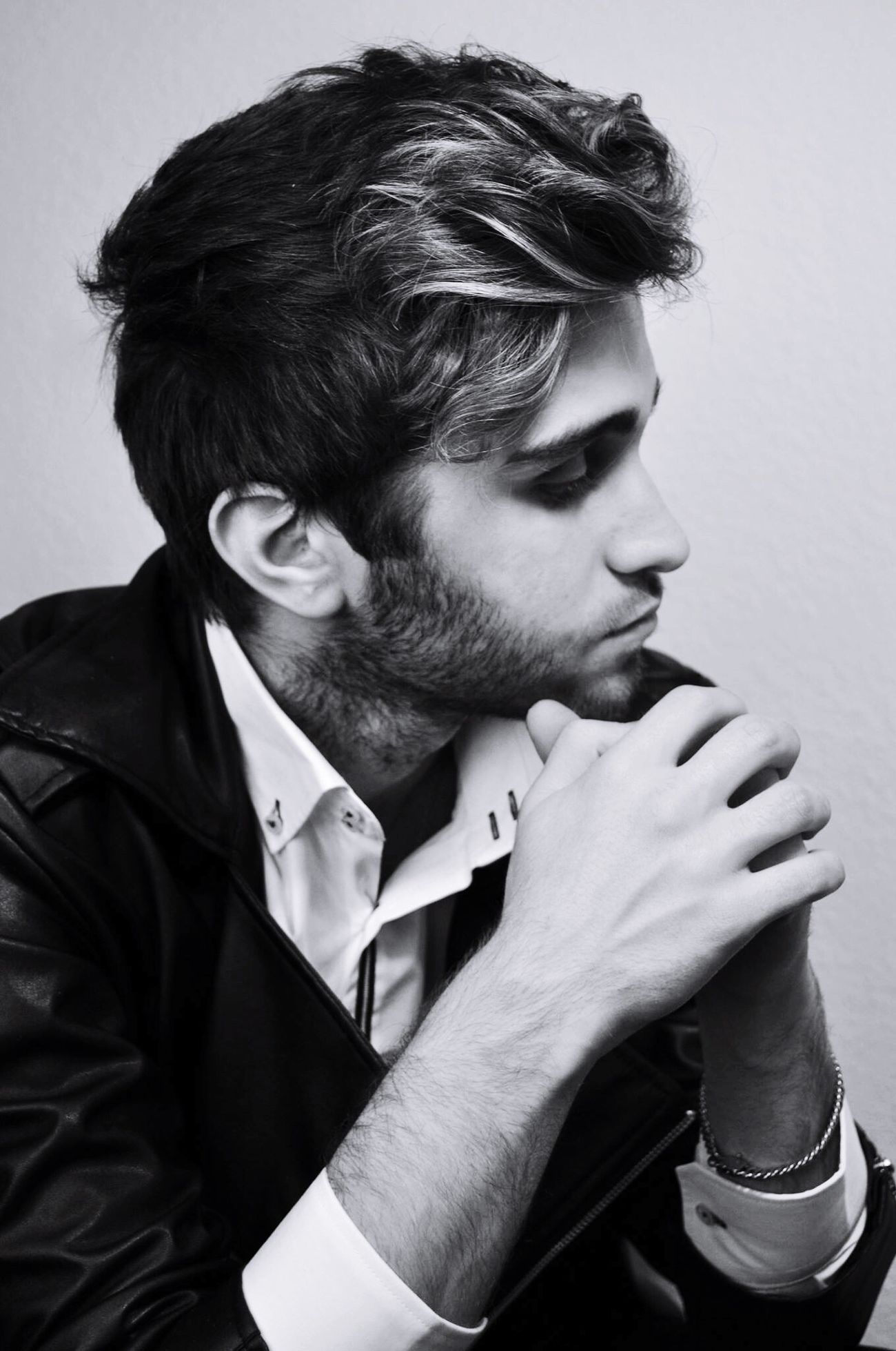Side View Men One Person Lifestyles Indoors  Beard Fashion Blackandwhite Guy Photoshoot Shooting Leather Jacket Close-up Young Adult Day