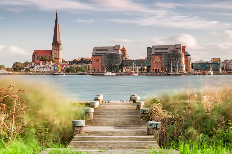 Architecture Building Exterior Cityscape Cloud - Sky Clouds And Sky Day Holiday Landing Stage Landmark Long Exposure No People Outdoors River Rostock Sky Sky And Clouds Tourism Travel Vacation Warnow Water