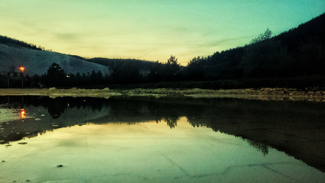 Dusk Landscape Mountain Nature Reflection Water
