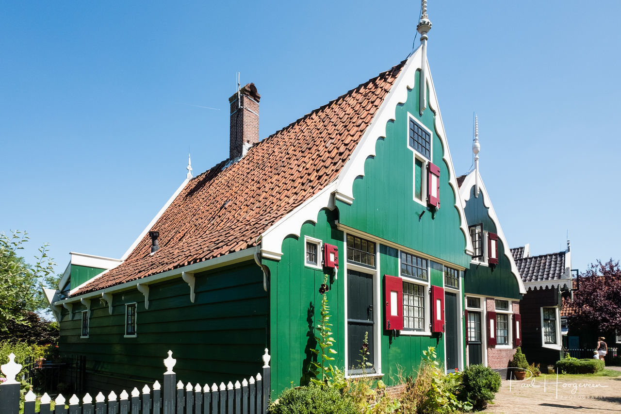 Houses @ Zaanse Schans Architecture Building Exterior Built Structure Clear Sky Day Fence Green Color House No People Outdoors Roof Sky Wood - Material Zaanse Schans