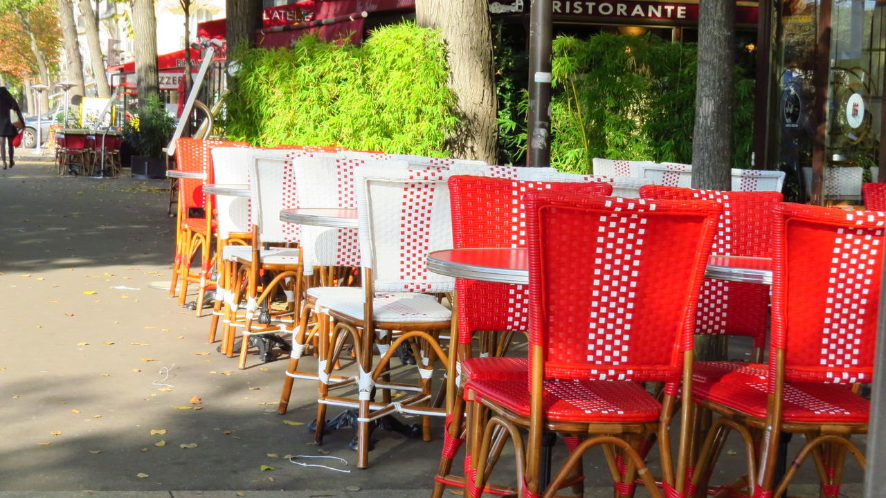 chair, table, sidewalk cafe, outdoors, restaurant, day, no people, red, cafe, seat