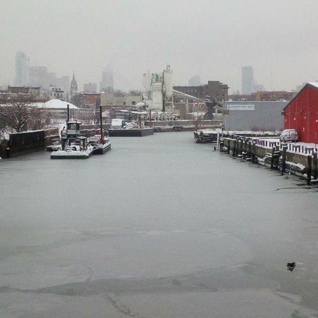 GowanusCanal Brooklyn Frozen Whiteout Gowanus Canal Winterinmarch NYC Storms TriedToWork BKNY Skyline Hidden Industrial