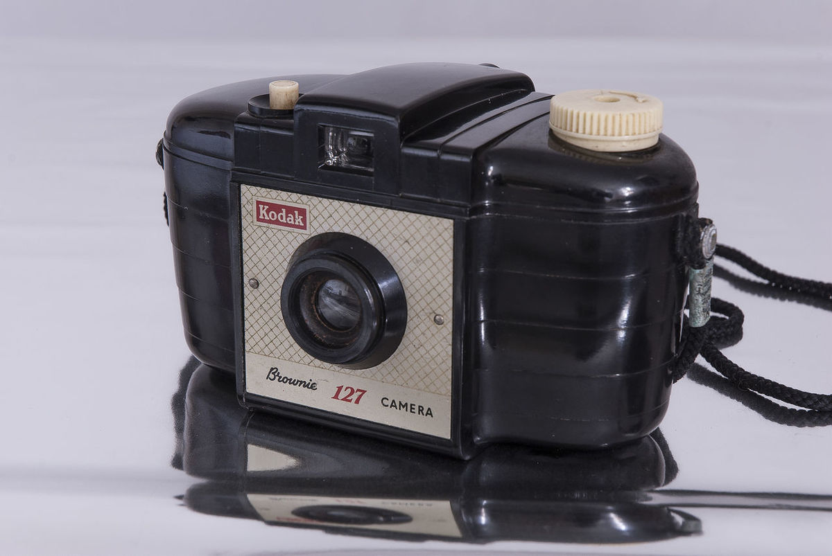 My first camera - Kodak Brownie 127. Black Color Brownie Brownie 127 Camera - Photographic Equipment Close-up Film Camera First Camera Indoors  Kodak No People Old Camera Old Technology Old-fashioned Refelction  Studio Shot