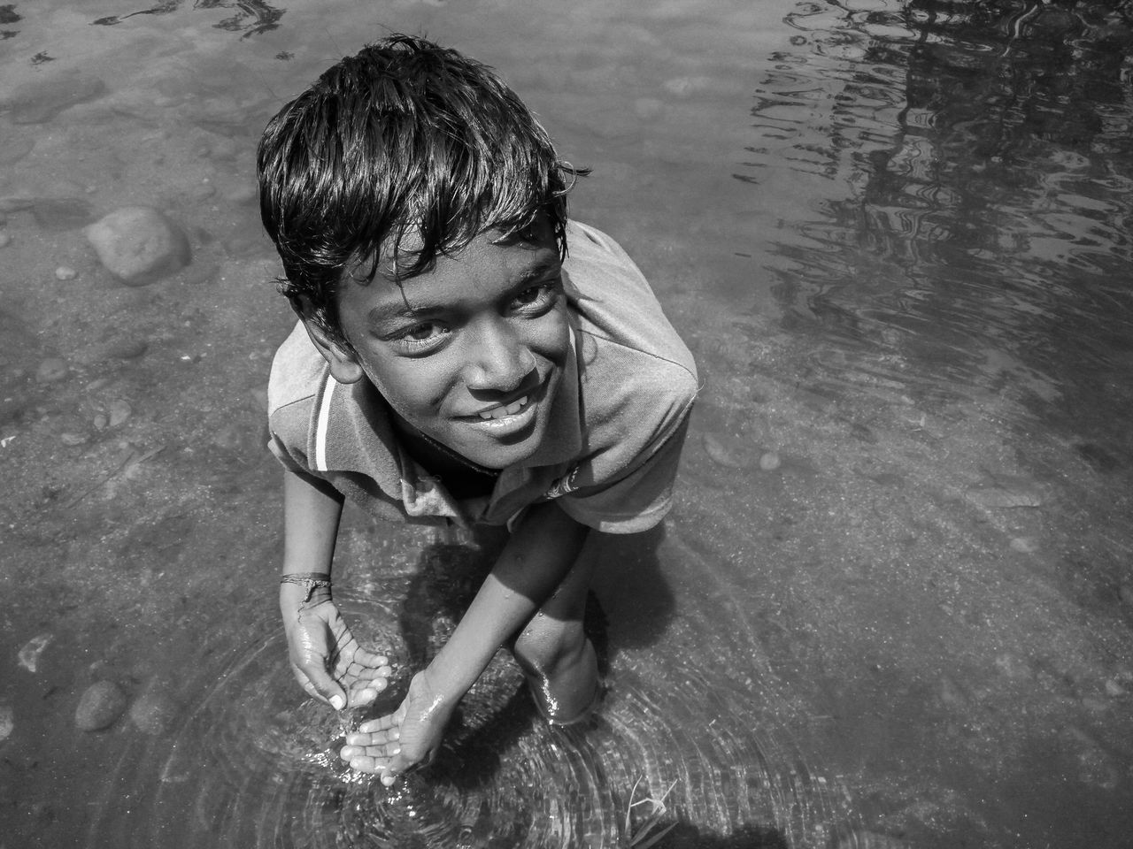 Blackandwhite Bnw Boys Child Childhood Day Elementary Age Full Length High Angle View Lifestyles Nature One Boy Only One Person Outdoors People Portrait Real People Swimming The Week On EyeEm Water