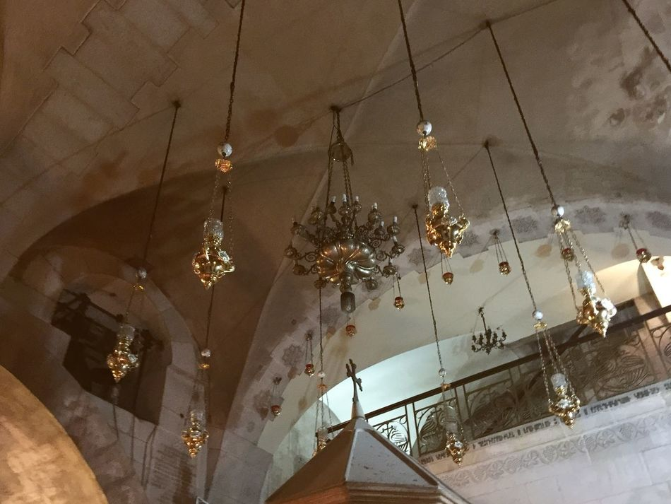 Ceiling of the Church of the Holy Sepulchre in Jerusalem, Israel Architecture Architecture Ceiling Ceiling Chandelier Church Of The Holy Sepulchre Hanging History Holy City Illuminated Indoors  Israel Jerusalem Lighting Equipment Low Angle View No People Travel