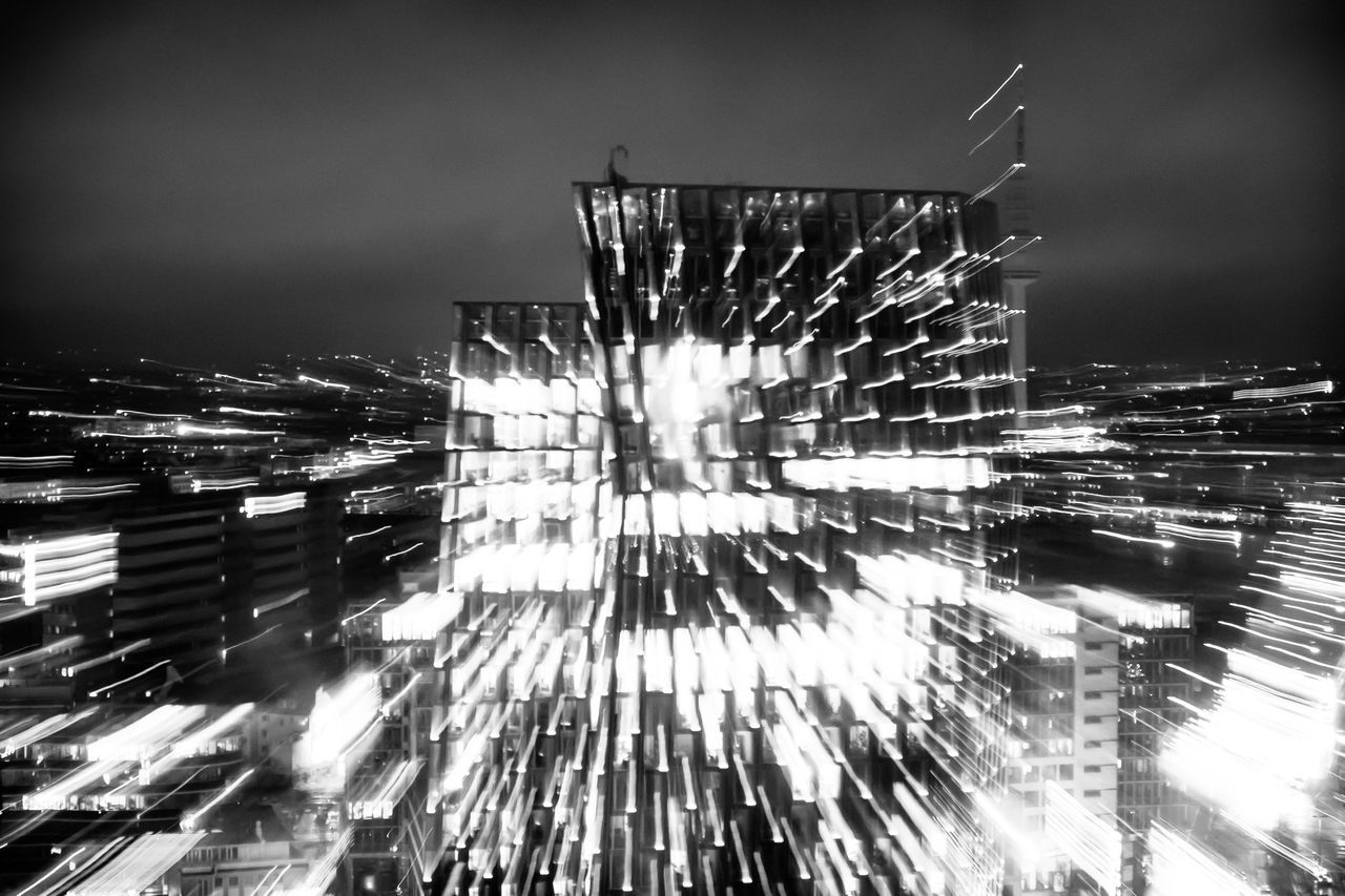 Architecture Blackandwhite Building Exterior Built Structure Bw Bw_collection City Cityscape Illuminated Night No People Office Office Building Outdoors Reeperbahn  Sky Skyscraper Tall Tanzende Türme Windows Zoom In