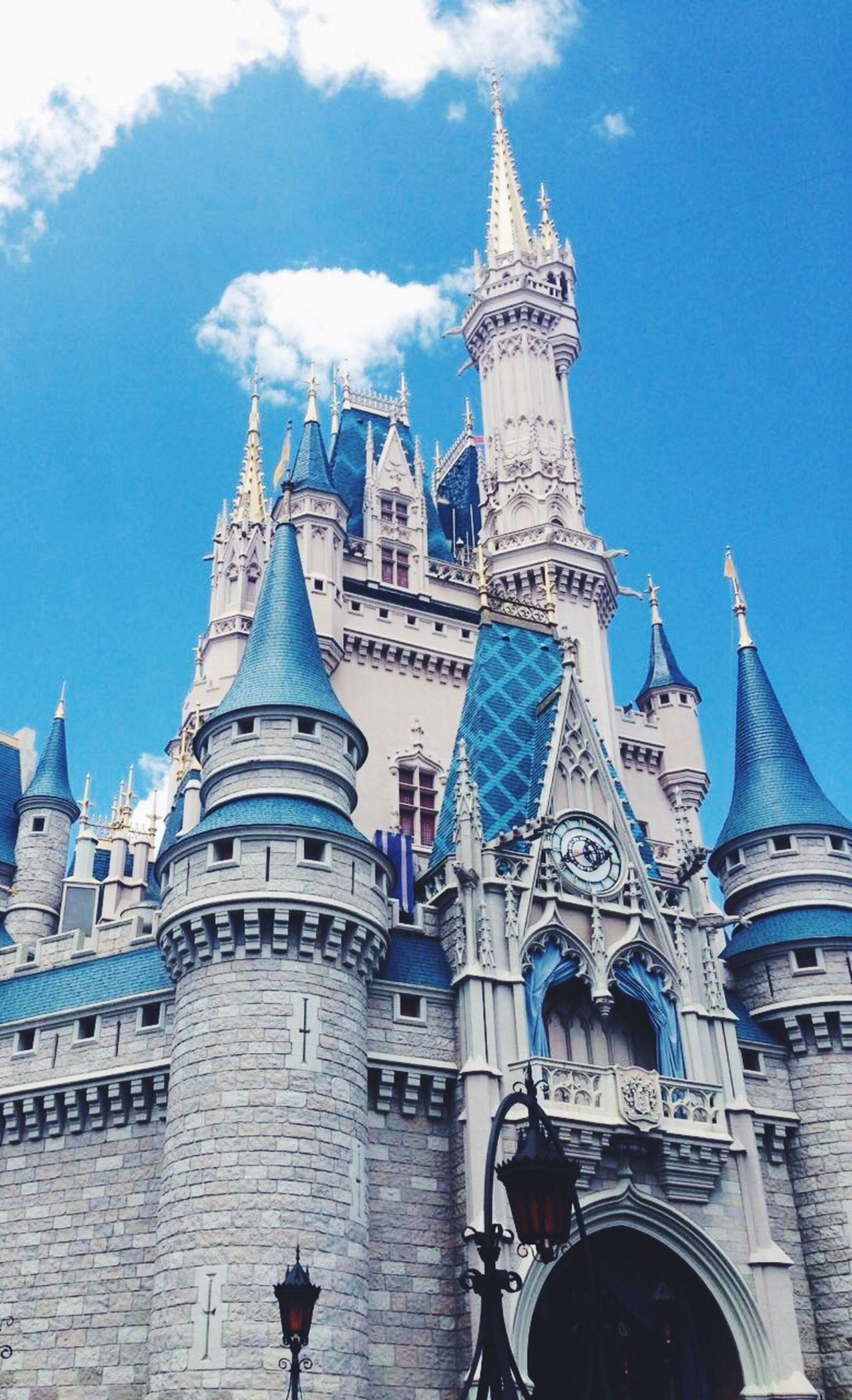 Disney DisneyWorld Architecture Orlando Magic Kingdom Castle Cinderella Cinderella Castle Built Structure Travel Destinations Low Angle View Tourism Sky Day Dome Outdoors No People