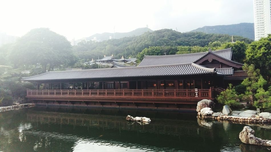 Water Architecture Mountain Reflection Built Structure Tree Day Nature Beauty Building Exterior Sky Flower - Hong Kong 南蓮園池