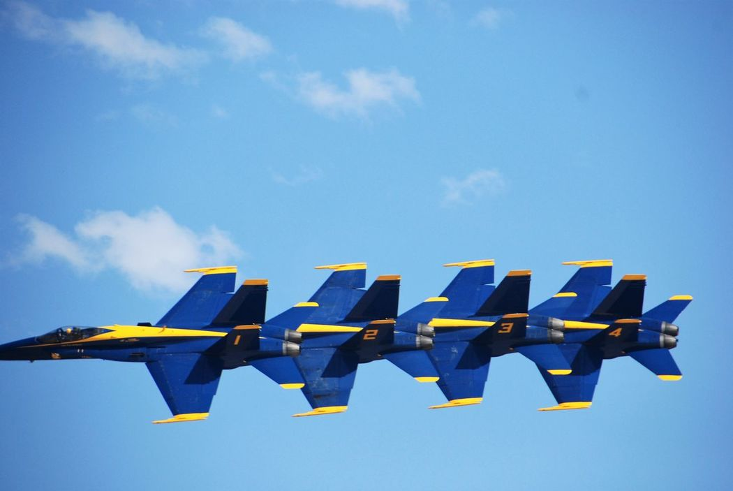 Standing Still Air Show Blue Blue Angels Day Formation Flying Fresh On Eyeem  In A Row Low Angle View Miramar Air Show No People Outdoors Patriotic San Diego Sky