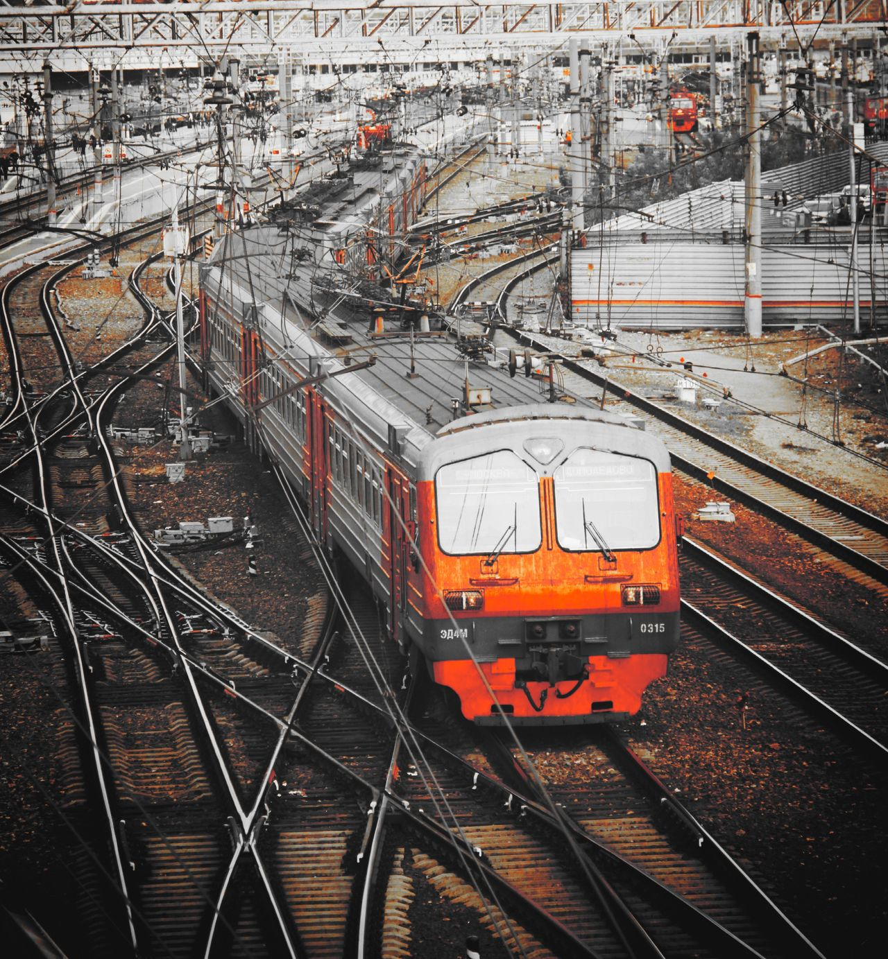 Transportation Train - Vehicle Rail Transportation Railroad Track High Angle View Public Transportation Travel Mode Of Transport Locomotive City Horizontal Outdoors Day Train Station Autumn Black,whiteandred Transportation City Russia россия Москва Павелецкий вокзал Москвы