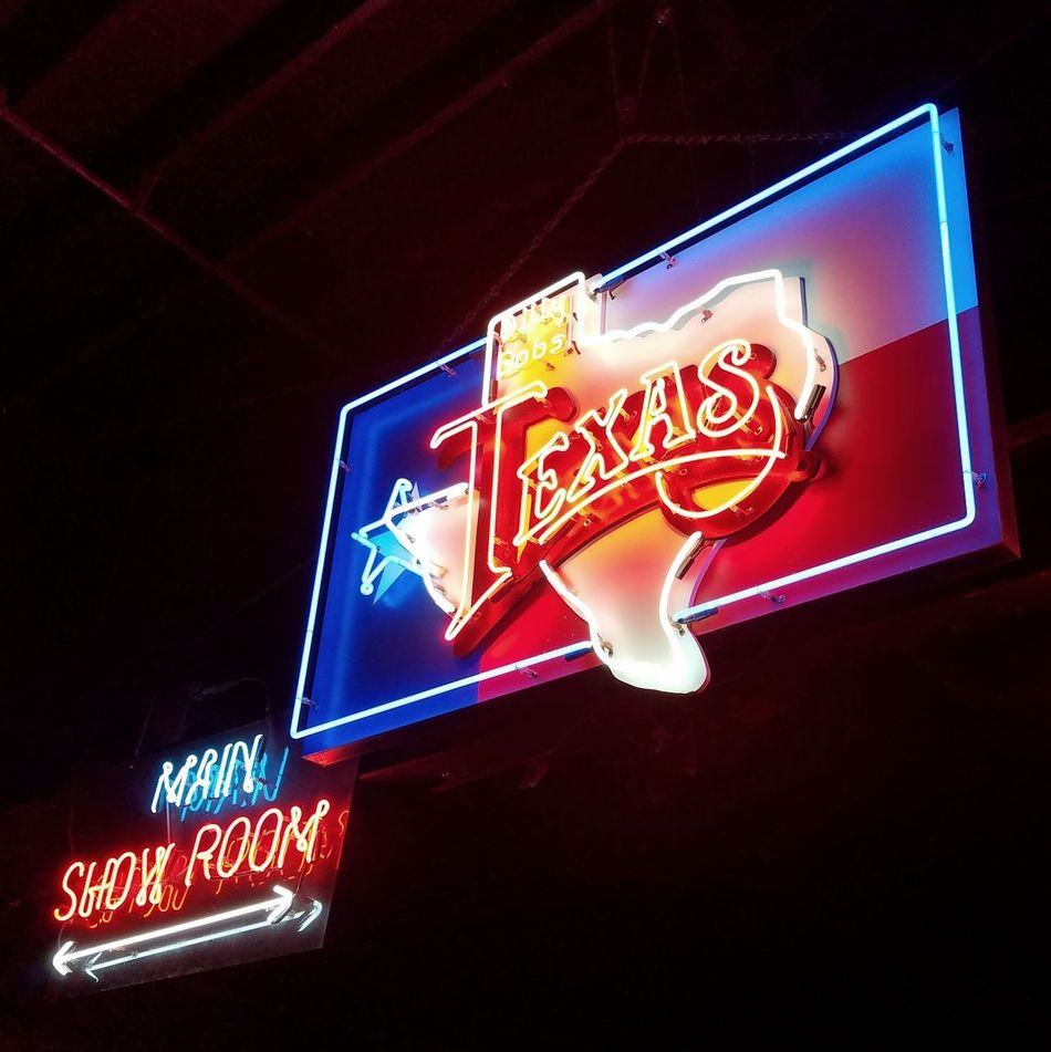 Text Communication Illuminated Night Gambling Neon No People Low Angle View Indoors  Close-up Texas Neon Lights Neon Colors Neon Moon Fort Worth Billy Bobs Texas Flag