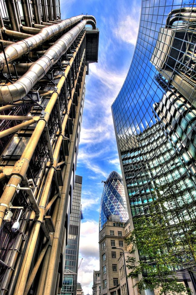 London City Wide Angle Gherkin Sky Glass Building Concrete Pipes Urban Reflection HDR The Architect - 2016 EyeEm Awards
