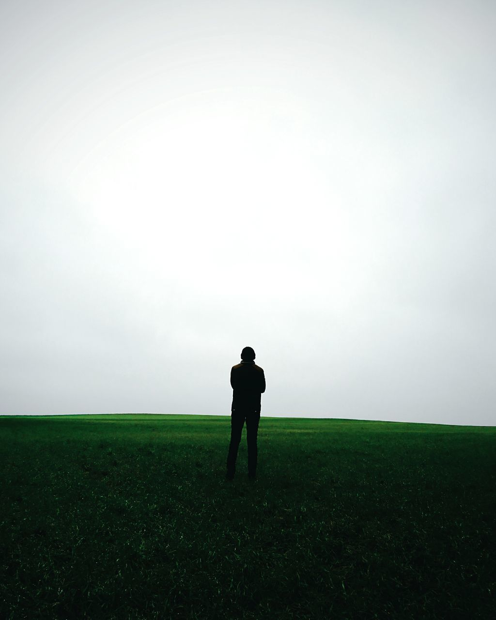 field, landscape, full length, grass, one person, tranquility, nature, sky, standing, outdoors, fog, tranquil scene, men, beauty in nature, real people, growth, day, scenics, one man only, people