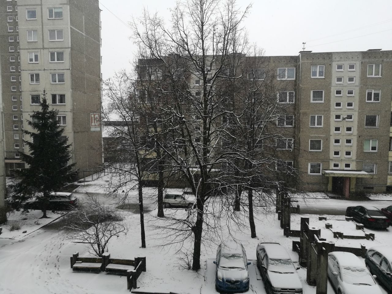 Apartment Blocks Apartment Buildings Architecture Bare Tree Bland Building Exterior Built Structure Cars Cold Temperature Day Flats Nature No People Outdoors Snow Snowing Tree Weather White Winter