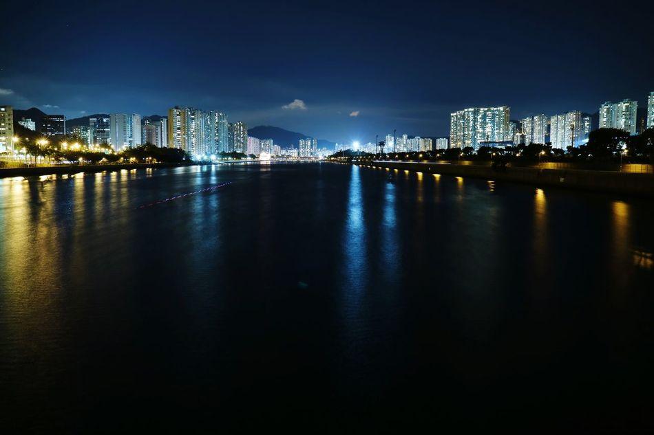Light And Shadow Water Reflections Tadaa Community Riverside River View Night Lights Nightscape Night Sky HongKong Cityscapes Shatin Discoverhongkong Nightphotography Buildings Light Trails