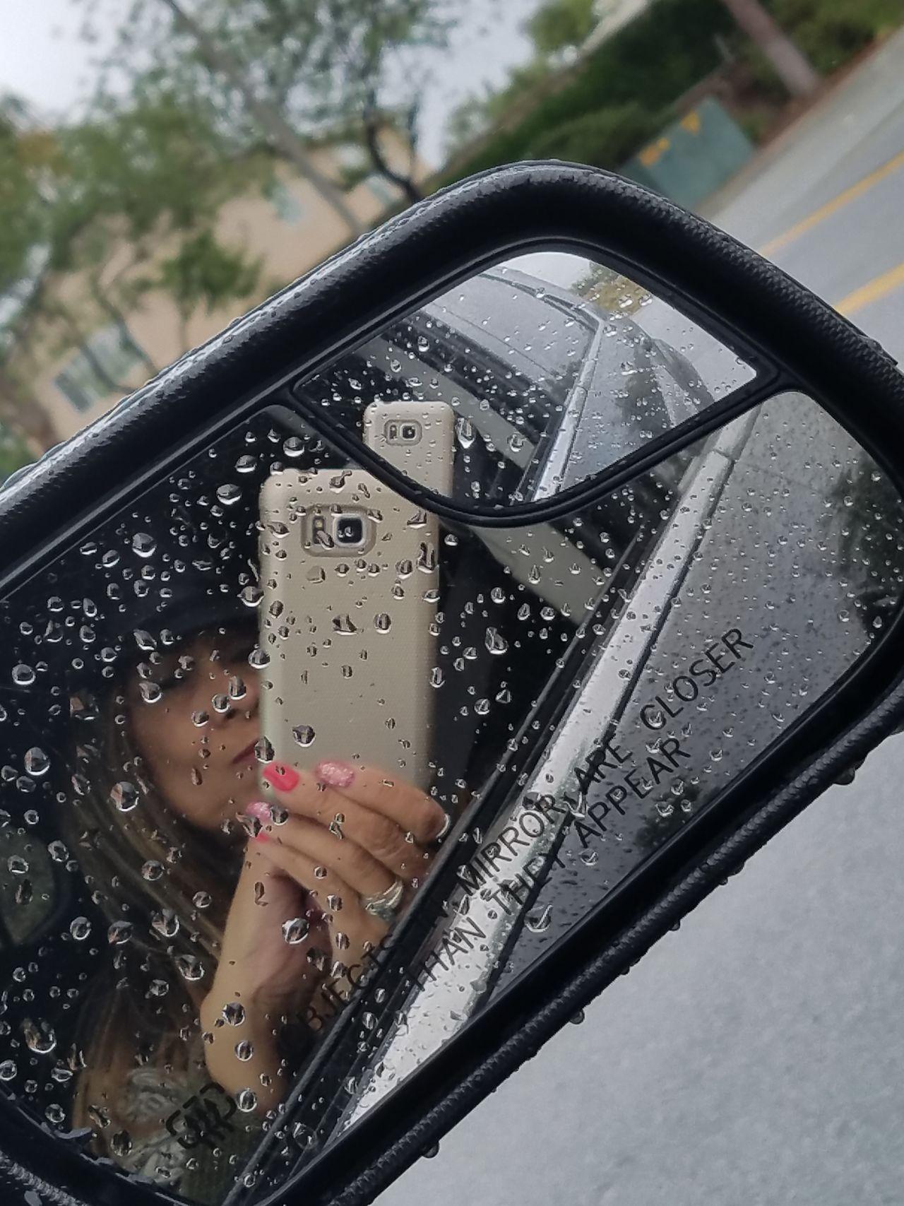One Person Car Window Wet Rainy Day! Side Mirror On Car Enjoying Life Selfie