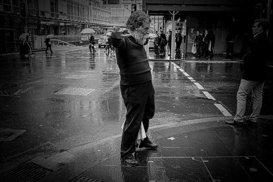 Old Man Real People Street City Streets  Balackandwhite Blackandwhite Photography Black And White Photography Monochrome Photography Monochrome Streetphotography City Street Photography Streetphotography_bw Streetphoto_bw Traveling Travelling Photography Walking Homelessman Homeless Awareness Sydney, Australia Homeless People Drunkies Drunked Singing In The Rain Person People