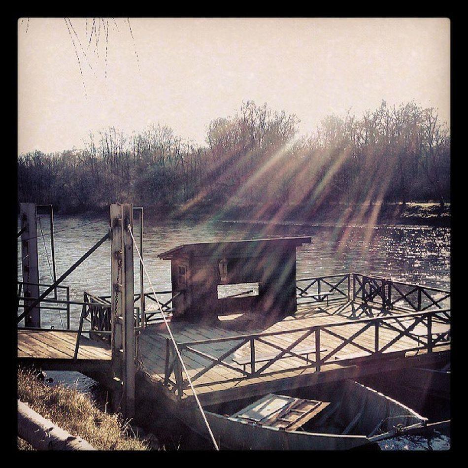 Igslovenia Murska Sobota Brod na muri mura ferry ferryman river krog reka sunset soncni zahod