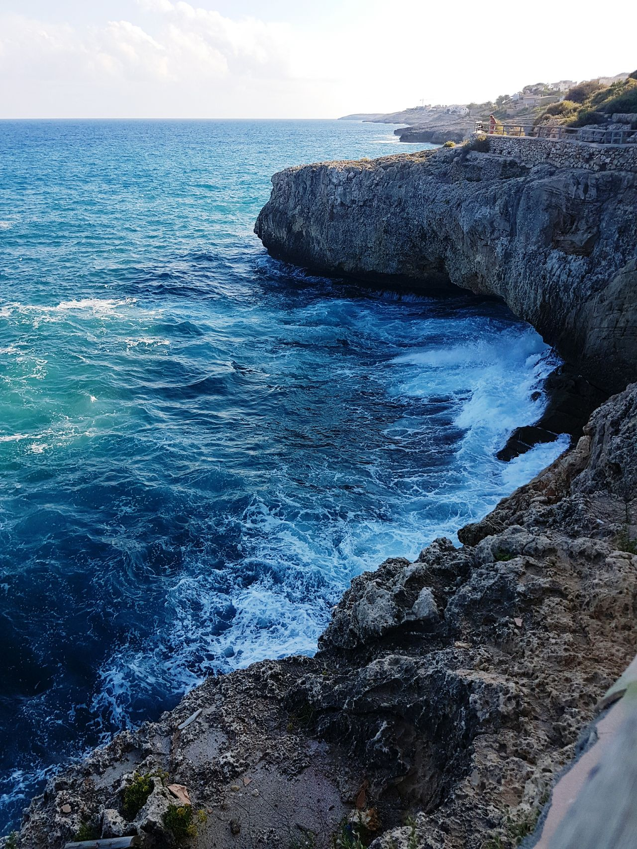 Sea Sky Beauty In Nature Nature Scenics Water Outdoors Day No People Amazing Nature Cliff Cliffs Looking Down View From Above Splashing Waves Waves On Rocks Shore Shoreline Majorca WOW Blue Sea Seascapes Tranquility Flying High