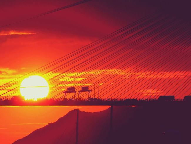 Cloud - Sky Dramatic Sky Vibrant Color Majestic Beauty In Nature Bridge - Man Made Structure Silhouette Connection Sunset Lanscapes Red
