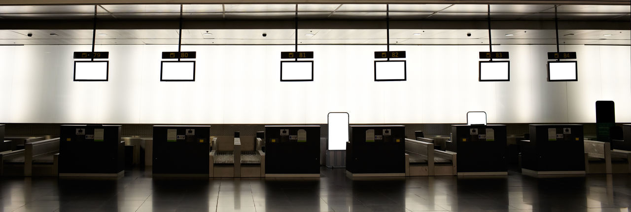 Airport Baggage Check Check-in Counter Hall Inspection Interior Lounge Luggage Machine Monitor Nobody Screens Security