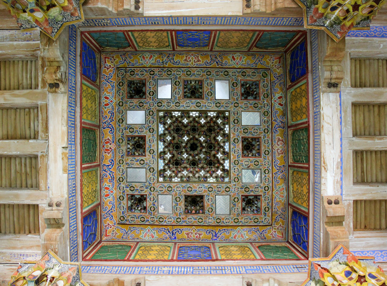 Architecture Built Structure Bukhara Ceiling Close-up Day Design Indoors  Islamic Architecture Islamic Art Looking Up Madrassa Multi Colored No People Ornate Pattern Silk Road Travel Destinations Uzbekistan