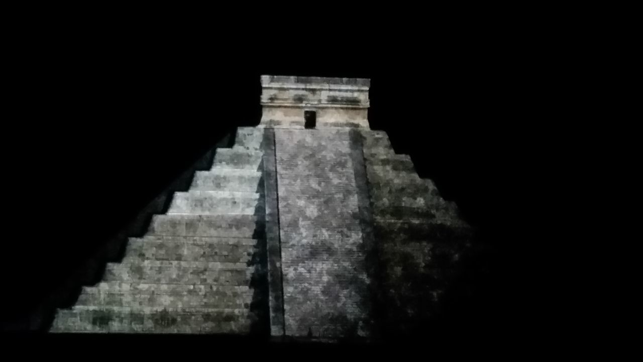 steps, history, architecture, built structure, ancient, pyramid, steps and staircases, no people, old ruin, ancient civilization, travel destinations, night, outdoors, nature, sky
