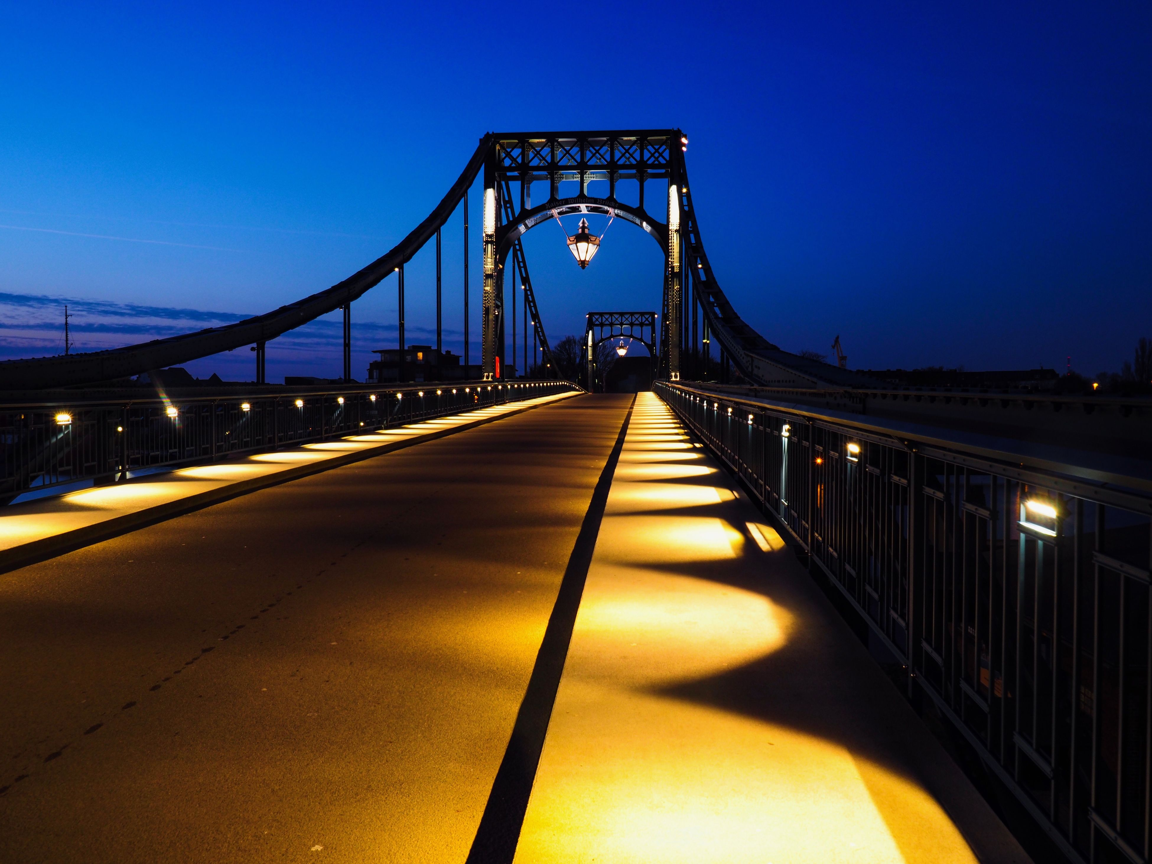 bridge - man made structure, built structure, architecture, sky, transportation, connection, the way forward, travel destinations, no people, suspension bridge, city, illuminated, outdoors, night