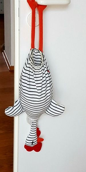 Chicken made of cloth blue and white stripes Storage For Carrybagshanging at the doorknobb Funny Idea Household Objects