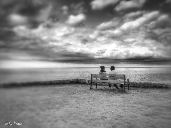 Rear View Horizon Over Water Sitting Relaxation Sea Sky Cloud Cloud - Sky Dramatic Sky Tranquil Scene Wather Collection Calm Atmosphere Landscape Skyporn EyeEm Best Shots Capture The Moment Focus On Foreground Sky_collection The Great Outdoors - 2016 EyeEm Awards EyeEm Best Edits B&w BW Collection Bw Photography