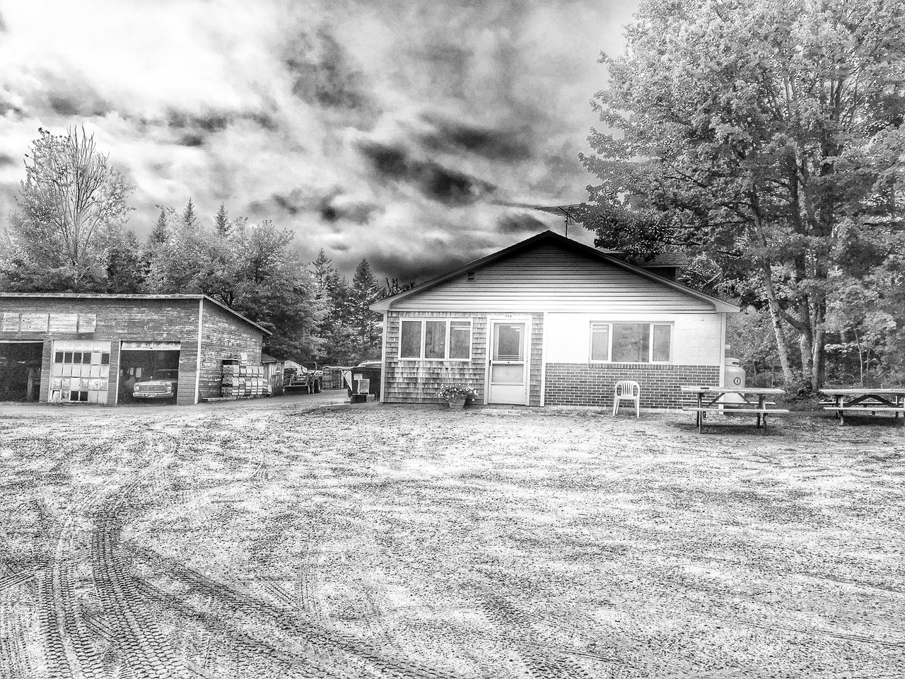 Maine Southwest Hbr Built Structure Architecture Building Exterior House Tree Residential Structure Residential Building Transportation Land Vehicle Field Outdoors Day Cloud - Sky Rural Scene No People Pine Tree Roadside Shots Crab Picking Shop Garage Scenery Blackandwhite Monochrome Photography